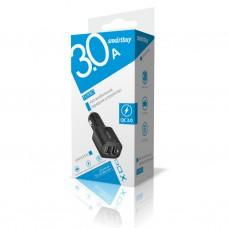 Автомобильный USB адаптор SmartBuy TURBO QC3.0 3А+QC3.0, 3А, 2 USB