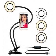 Гибкий держатель для телефона и кольцевая лампа на прищепке