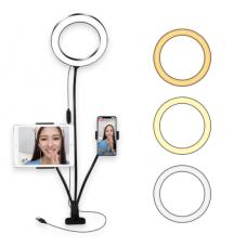 Гибкий держатель для телефона и кольцевая лампа (20 см) на прищепке