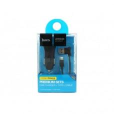 Автомобильное зарядное устройство Hoco 2USB 2.4A + кабель Apple 8 pin